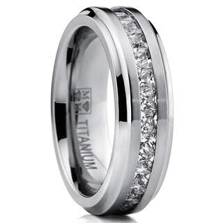 Oliveti Titanium Men's Channel-set Princess-cut Cubic Zirconia 7mm Eternity Wedding Band - White (Option: 8.5)