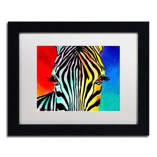 DawgArt 'Zebra' White Matte, Black Framed Wall Art