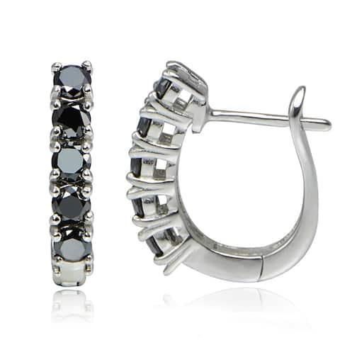 DB Designs Sterling Silver 1 1/4ct TDW Black Diamond Studded Hoop Earrings