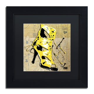 Roderick Stevens 'Yellow Strap Boot' Black Matte, Black Framed Wall Art
