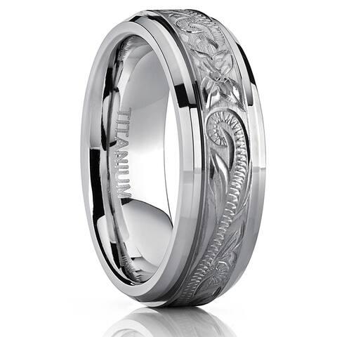 Oliveti Titanium Men's Hand-engraved Comfort Fit 7mm Wedding Band