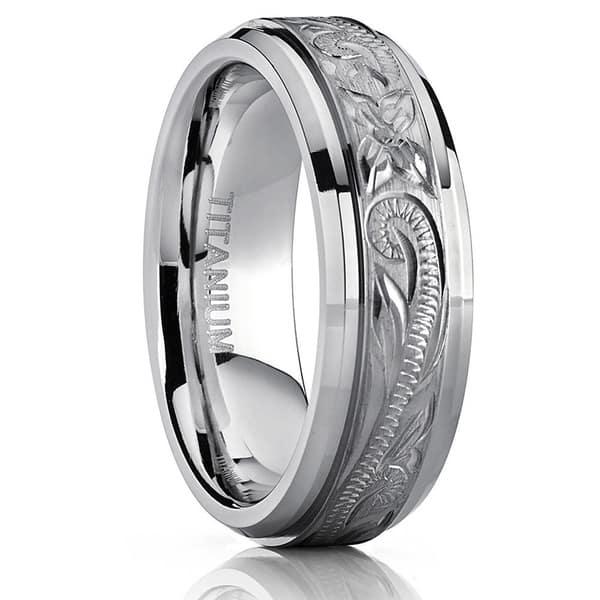 Shop Oliveti Titanium Men S Hand Engraved Comfort Fit 7mm Wedding