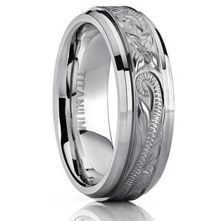 Oliveti Titanium Men's Hand-engraved Comfort Fit 7mm Wedding Band|https://ak1.ostkcdn.com/images/products/10478622/P17567722.jpg?impolicy=medium