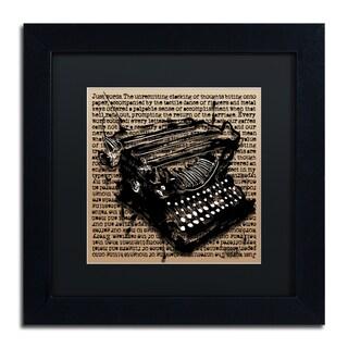 Roderick Stevens 'Three-Quarter Typewriter' Black Matte, Black Framed Wall Art