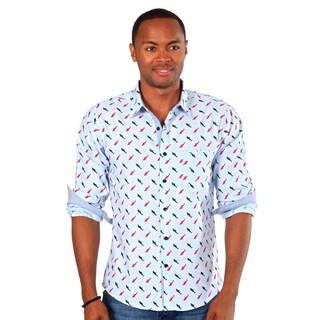 Something Strong Men's Blue Shark Print Button Down Shirt