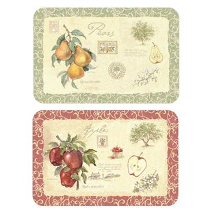 Reversible Old Orchard Apple and Pear Placemats (Set of 4)