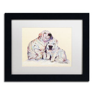 Pat Saunders-White 'Snuggles' White Matte, Black Framed Wall Art