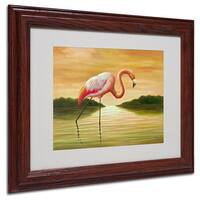 Victor Giton 'Pink Flamingo' White Matte, Wood Framed Wall Art