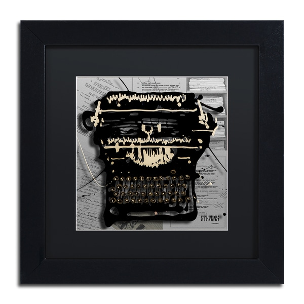 Roderick Stevens 'Movie Typewriter' Black Matte, Black Framed Wall Art