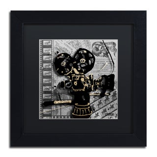 Roderick Stevens 'Movie Camera' Black Matte, Black Framed Wall Art