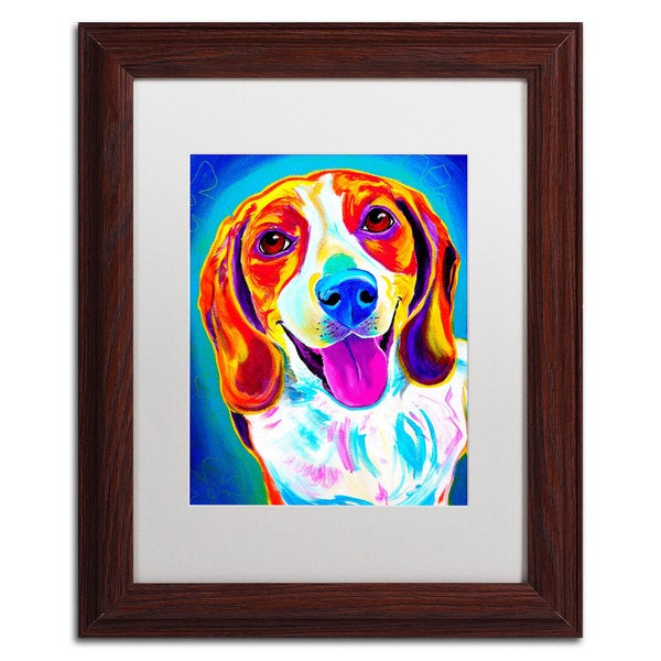 DawgArt 'Lucy' White Matte, Wood Framed Wall Art