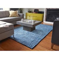 Jani Hand-tufted Sani Blue Recycled Cotton Rug (8' x 10')