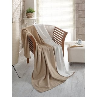 Ottomanson Ottomanson Beige and Ivory Reversible Soft Cotton Cozy Fleece Blanket