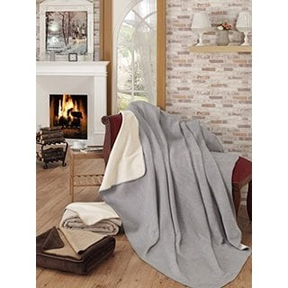 Ottomanson Ottomanson Grey and Ivory Reversible Soft Cotton Cozy Fleece Blanket