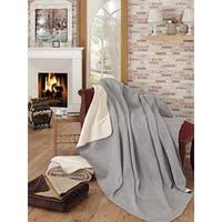 Ottomanson Ottomanson Grey and Ivory Reversible Soft Cotton Cozy Fleece Blanket