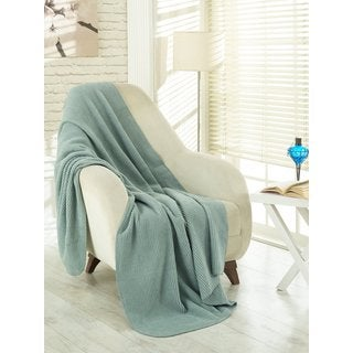Ottomanson Ottomanson Waffle Sage Green Solid Soft Cotton Cozy Fleece Blanket