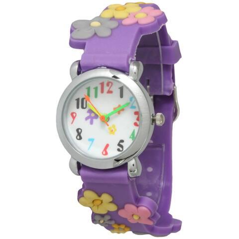 Olivia Pratt Kids' Flower Watch with Silvertone Bezel