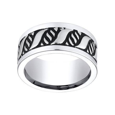 Men's Cobalt 10-mm Comfort-Fit 'S' Patterned Ring