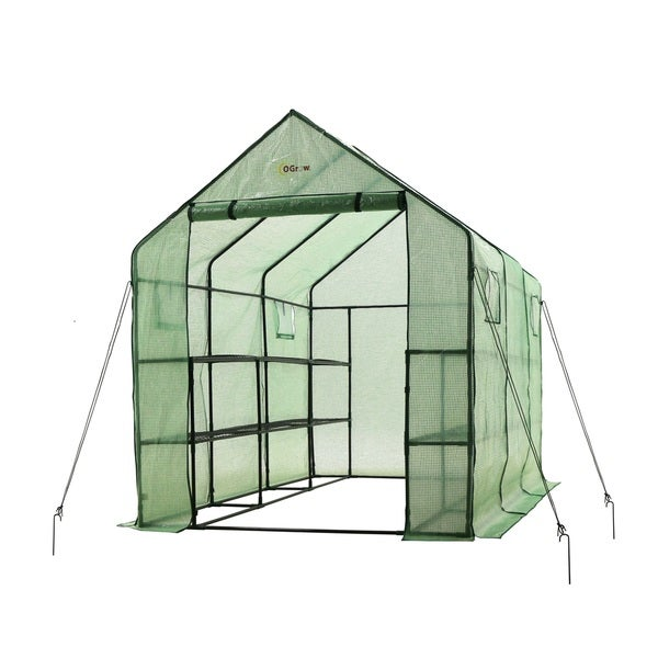 "Ogrow Spacious and Sturdy Walk-In 2 Tier 12 Shelf Portable Garden Greenhouse with Windows - 117""L X 67""W X 83""H"