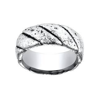 Men's Distressed Cobalt 9mm Ring with Blackened Diagonal Markings