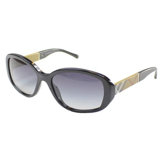Burberry Women's BE 4159 34338G Black Plastic Oval Sunglasses
