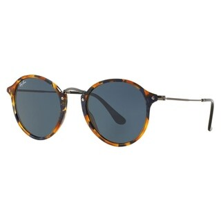 Ray-Ban Unisex RB 2447 Round Fleck 1158R5 Spotted Blue Havana Plastic Sunglasses
