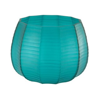 Dimone Home Blue Stacked Cuts Glass Low Vase