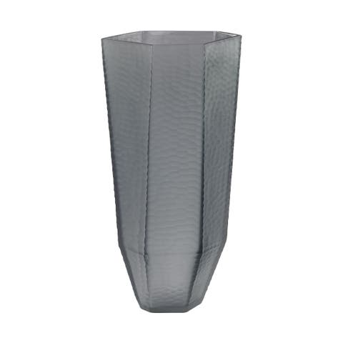Dimone Home Grey Stacked Cuts Glass Vase