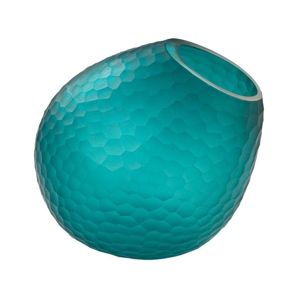 Dimone Home Blue Cut Glass Horn Vase