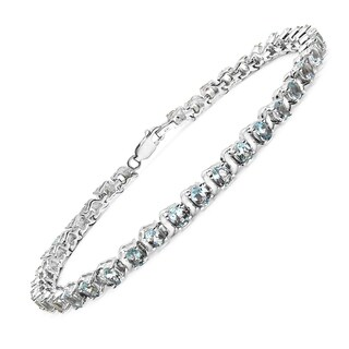Malaika Sterling Silver 7 2/3ct Genuine Aquamarine Bracelet
