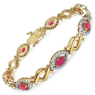 Malaika 14k Yellow Goldplated Sterling Silver 4 3/5ct Genuine Ruby Bracelet