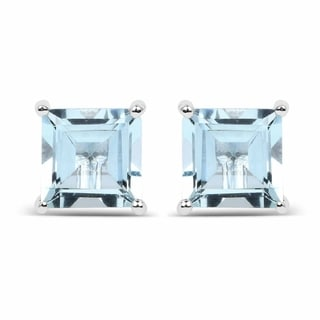Olivia Leone Sterling Silver 1 7/8ct Genuine Square Shape Aquamarine Earrings