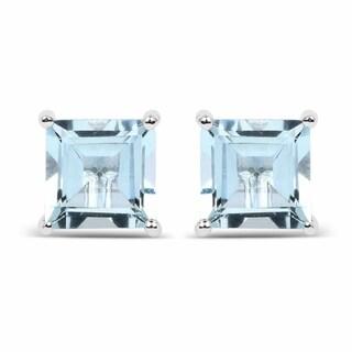 Olivia Leone Sterling Silver 1 7/8ct Genuine Square Shape Aquamarine Earrings