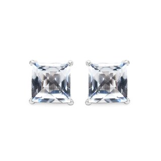 Olivia Leone Sterling Silver 5 1/10ct Genuine White Topaz Square Shape Earrings