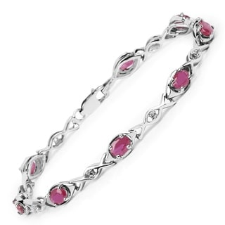 Malaika Sterling Silver 5 2/5ct Ruby and White Topaz Bracelet