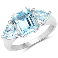 Olivia Leone Sterling Silver 4 1/5ct Genuine Blue Topaz Ring