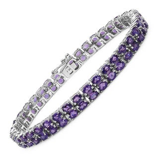 Malaika Sterling Silver 15 1/5ct Genuine Amethyst Bracelet