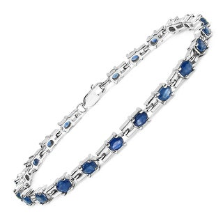 Link to Malaika Sterling Silver 5.25ct Genuine Blue Sapphire Bracelet Similar Items in Bracelets