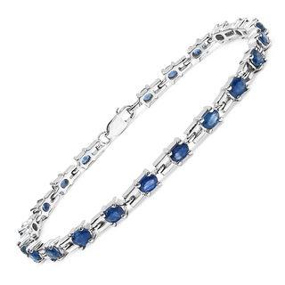 Malaika Sterling Silver 5.25ct Genuine Blue Sapphire Bracelet