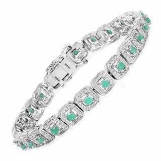 Olivia Leone Sterling Silver 2 2/5ct Genuine Emerald Bracelet