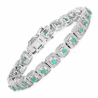 Olivia Leone Sterling Silver 2 2/5ct Genuine Emerald Bracelet|https://ak1.ostkcdn.com/images/products/10479903/P17568805.jpg?impolicy=medium