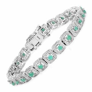 Olivia Leone Sterling Silver 2 2/5ct Genuine Emerald Bracelet - Green