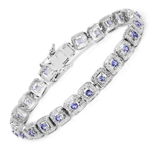 Malaika Sterling Silver 2 2/5ct Genuine Tanzanite Bracelet