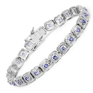 Malaika Sterling Silver 2 2/5ct Genuine Tanzanite Bracelet