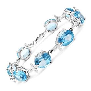 Olivia Leone Sterling Silver 42ct Genuine Blue Topaz Bracelet