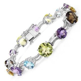 Malaika Sterling Silver 26 2/5ct Multi-gemstone Bracelet
