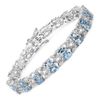 Olivia Leone Sterling Silver 18 2/5ct Genuine Blue Topaz and White Topaz Bracelet