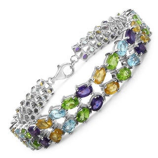 Malaika Sterling Silver 22 1/5ct Multi-gemstone Bracelet
