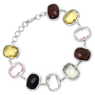 Malaika Sterling Silver 76 2/5ct Multi-gemstone Bracelet