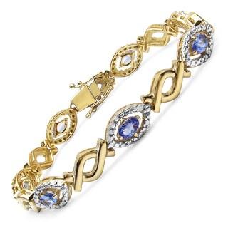 Malaika Yellow Gold-Plated Sterling Silver 3 1/10Ct Genuine Tanzanite Bracelet - Blue
